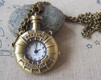 1 PC Antique Bronze Perfume Bottle Pocket Watch Pendant 30x40mm A4609