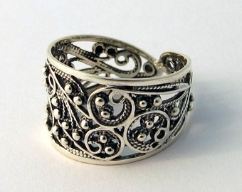 Beautiful New Sterling Silver Womens Wedding Band Unique Traditional Filigree Ring Handmade Round Jewelry