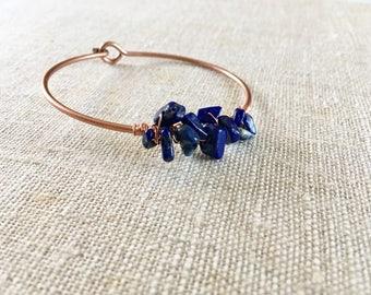 Stalactite bracelet , Stalactite blue jewelry, copper bracelet, gemstone bracelet, blue bracelet, stone and copper bracelet
