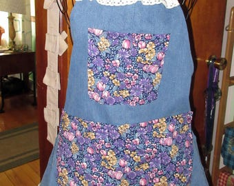 Recycled blue jean apron