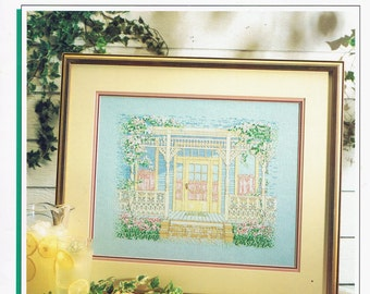 CROSS STITCH PATTERN -  Victorian House Counted Cross Stitch Pattern - Vintage Cross Stitch - Aunt Maude's Porch - Color Charts #0901
