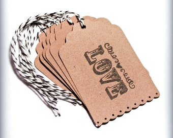 Wedding Love tag 6 bridal shower party tag food favors wish tree rustic country