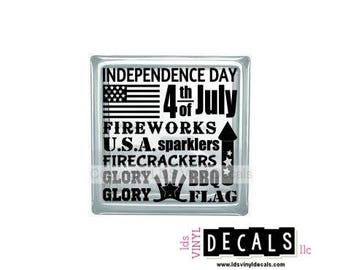 INDEPENDENCE Day 4th of July Fireworks U.S.A. sparklers Firecrackers Glory Glory BBQ Flag - Patriotic Military Vinyl for Glass Blocks