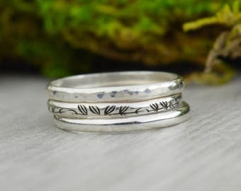 Sterling Silver Stacking Rings • Handcrafted Stack Ring Set • Hand Stamped Rings