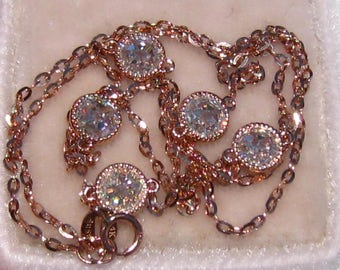 Rose Gold Necklace with Double-Sided Rose Cut Moissanites in Milgrained Bezels