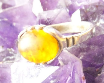 Sterling and Amber Ring..... size 7.5