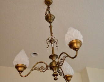 Antique Brass Chandelier, Converted Gas Chandelier, Large Chandelier