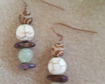 Carved Jade with Natural Stone Dangles