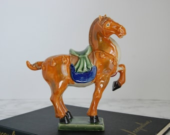 Tang Style Horse Statue - Porcelain Asian Horse - Chinese War Horse