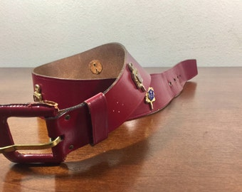 Calderon, Red Leather Belt, Coat of Arms Belt, Small, Leather Buckle