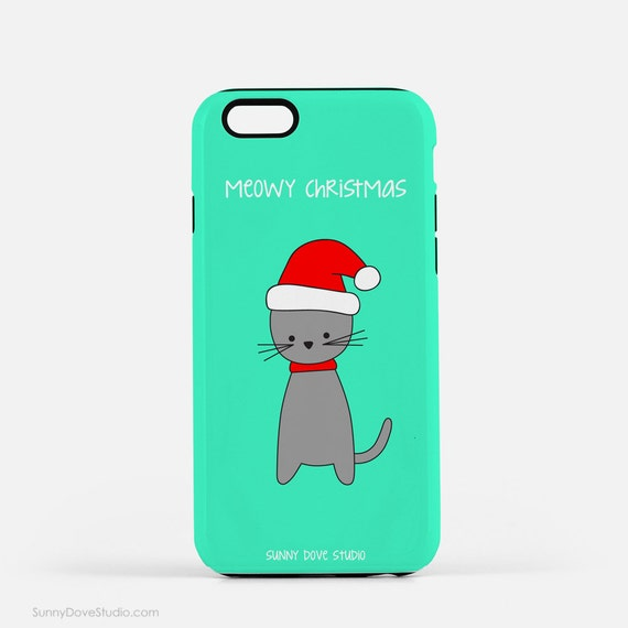 iPhone Case Cute Christmas Phone Cases Funny Santa Cat Pun Meowy Merry Gift Gifts For Friend Girlfriend Her Fun 7 5 5s 6 Plus 6s S6 S5 5c S4
