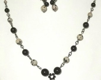 Dalmation Jasper Love Necklace and Earrings Set