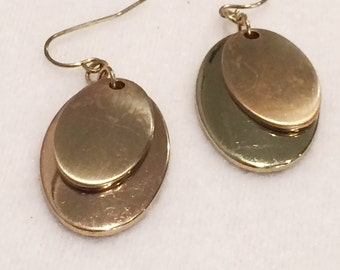 Vintage Gold Tone  drop Dangle Earrings  Pierced  1.5""