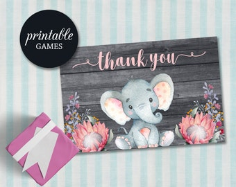 Elephant Thank You Card, Girl Baby Shower Thank you Card Printable, Pink Gray Floral Thank you Cards, Birthday Thank you Card Girl