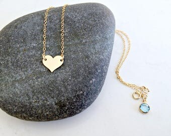 personalized heart choker monogram necklace 14k gold filled heart necklace handstamped heart initial aquamarine choker swarovski birthstone