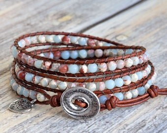 Beaded Wrap Bracelet, Jasper Wrap Bracelet, Wrap Bracelet, Leather Wrap Bracelet, Beaded Leather Wrap Bracelet