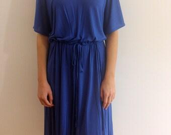 V Neck blue dress