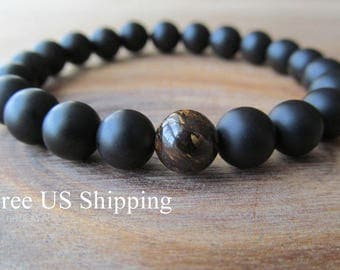 Bronzite and Matte Black Onyx Bracelet, Stacking Bracelet, Men's Bracelet, Mala Bracelet, Layering Bracelet, Beaded Bracelet, Gift for Men