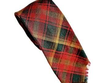 "Vintage Plaid Tie,Skinny Tie,Maple Leaf Tartan,FORSYTH 1964 Red and Green Tie,Canada Day Tie,5.5cm/2.2"" Narrow Tie,Preppy Hipster Necktie"