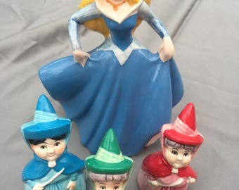 Vintage Collectable 1960's Disney Sleeping Beauty and Fairies Figurines