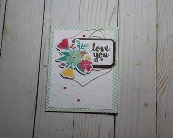 Love You Greeting Card / Handmade / Blank Inside Greeting Card / Stamped Greeting Card / Hello Greeting Card