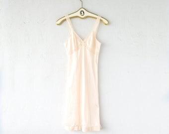 Vintage 70s 80s Lace Slip Dress // Blush Pink Boho Sheer Lingerie