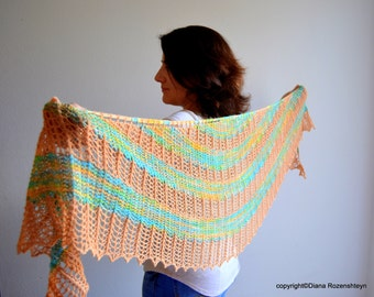 Shawl Pattern PDF: Spring waltz . Hand Knitted Lace Shawl, Wrap. Original Design. PDF downloadable pattern.