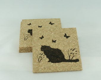 Longhaired Kitty Cat Cork Coaster Set - Thick Laser Engraved Cork