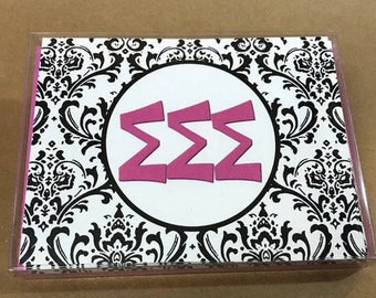 Sigma Sigma Sigma Damask Notecards