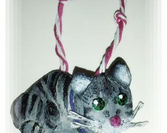 Handpainted Personalized Christmas Cat Ornaments