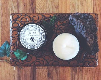 Jaime Lannister Candle   Game of Thrones   Bay Rum & Sea Salt   8 oz soy candle in black tin, nerdy gift, geeky gift