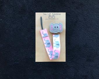 Elephant Pacifier Clip, Pink Baby Girl Pacifier Clip, Pink Elephant Binky Clip, Baby Pink Toy Clip, Elephant Feltie Paci Clip, Elastic Loop