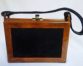Vintage Amber Butterscotch Lucite and Black Suede Bag, 1940s Box Purse