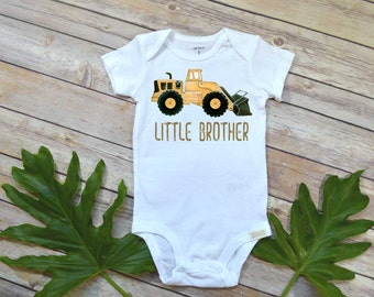 Little brother shirt, Construction Theme, Little Brother Announcement, Bull Dozer, Cute Boy Clothes, Baby Boy Clothes, Trucks Boy Shirt,