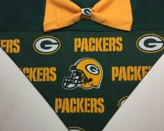 Dog Bandana made from Green Bay Packers Fabric