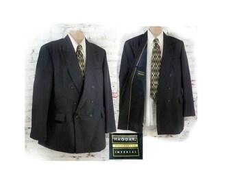 men's double breasted blazer - Navy  sport coat - vintage men's sport coat - men's 70's 80's blazer  - pin strip sport coat - Size 42 L # 36