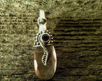 pink quartz faceted teardrop gem charm pendant ~ boho pink quartz amethyst silver fetaher charm pendant