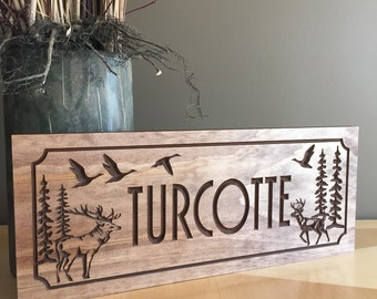 Welcome Sign, Cabin Decor, Wooden Signs, Pine Tree, Elk, Sign,  Rustic Wood Carved Sign, Wood Carved Sign, Custom Carved Sign, Outdoor Sign
