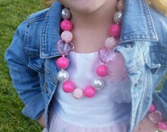Valentine Heart Necklace, bracelet necklace set, bubblegum necklace, baby necklace, chunky bead necklace, pink valentine