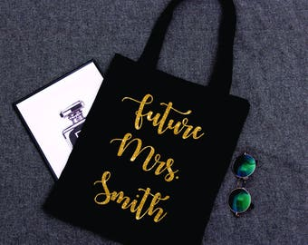 Future Mrs. | Black Tote Bag |  Wedding Tote Bag | Bridesmaid Gift Tote Bag | Bridal Party Gift