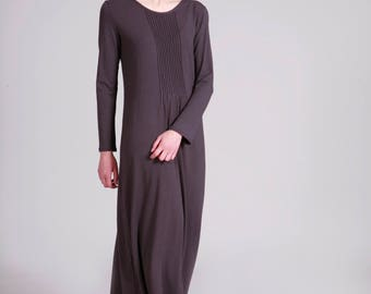 Maxi Dress, Gray Dress, Pleated Dress, Loose Fit, Long Sleeve Dress, Minimalist Cotton Dress, Gray Long Dress, Maxi Boho Dress