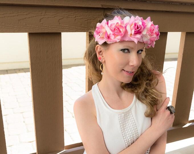 Pink White Cream Rose Flower Crown