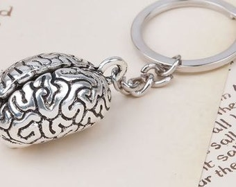 3D Keychain & Keyring Anatomical Human Cerebrum Brain Antique Silver - 3 3/8""
