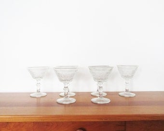 Duncan and Miller EAPG Sandwich Glass Champagne or Sherbet  Glasses Set of Six