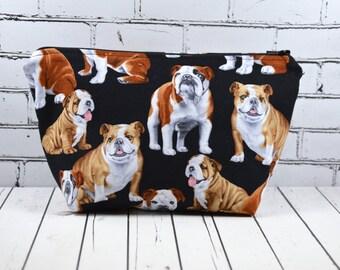 English Bulldog Makeup Bag, Bull Dog Cosmetic Bag