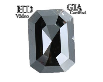 GIA CERTIFIED 1.55 Ct Natural Loose Diamond Emerald Shape Fancy Black 7.20MM L7781