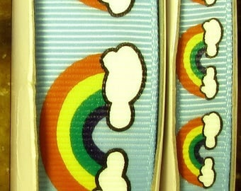 "2 Yards 3/8"" or 7/8"" Rainbows and Clouds on Blue Grosgrain Ribbon - US DESIGNER"