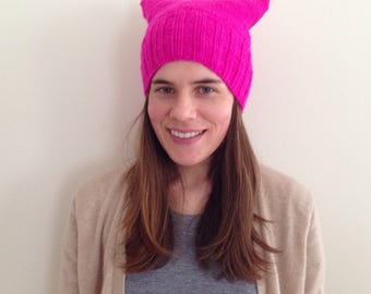 Knit to order Bright Pink pussy hat 100% Merino wool soft and warm quality made