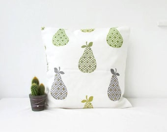 Pear print cushion cover, modern pillow cover, green fruit pattern, green decor, British designer fabric, Handmade in the UK