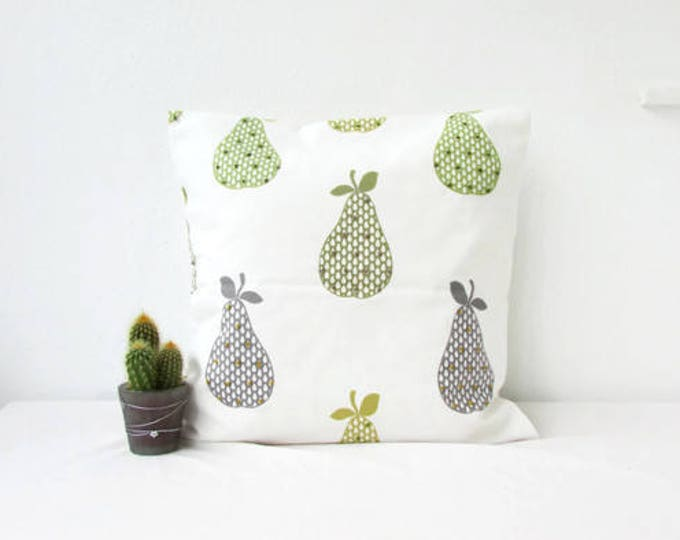 Modern Pear print cushion cover in British designer fabric, Handmade in the UK